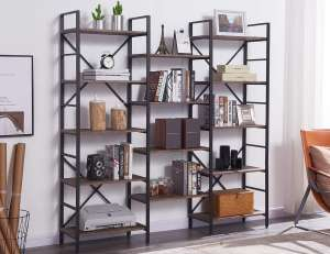 Superjare Rustic Triple 5-Shelf Bookcase