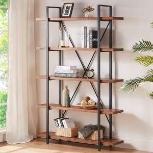 HSH 5-Tier Vintage Industrial Wood Bookshelf