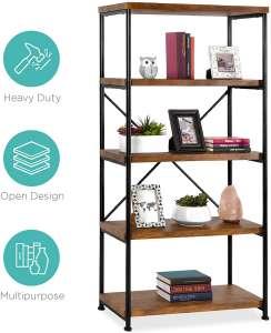 Best Choice Products 4-Shelf Vintage Style Bookshelf