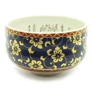 Japanese Gold Clematis Kutani Yaki Matcha Bowl