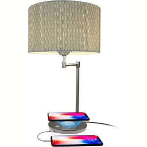Macally Wireless Charging Lamp with USB Port, LED Light Perfect for Bedroom, Nightstand, Living Room, Desk