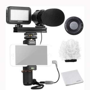 Movo Smartphone Video Rig Kit V7 with Grip Rig, Pro Stereo Microphone, LED Light and Wireless Remote