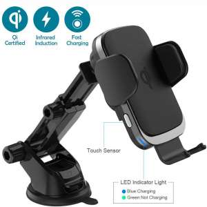 Wireless Car Charger Mount, Qi Certified Fast Charging Automatic Clamping Car Phone Holder with 7.5W 10W