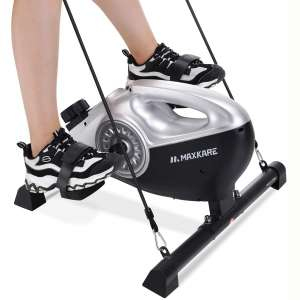 MaxKare Under Desk Exercise Bike 2 in 1 Stationary Magnetic Pedal Exerciser Cycle Bike with LCD Monitor Leg and Arm Recovery