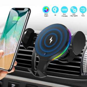 Wireless Car Charger Mount, KNGUVTH Auto Clamping Car Wireless Charger 10W 7.5W Qi Fast Charging Car