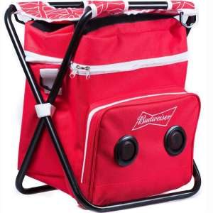 Budweiser Beach Tailgate Picnic Chair & Insulated Cooler Bag with Built in Rechargeable Bluetooth Speaker