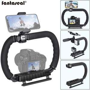 DSLR:Mirrorless:Action Camera Camcorder Phone Stabilizer 3-Shoe 2-Handed Vlog Video Holder Rig Low Position Shooting Steadycam Mount Detachable Grip Fit