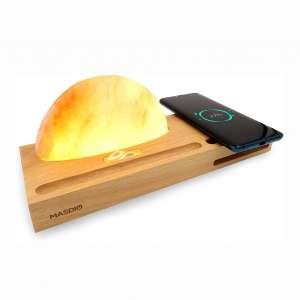 Masdio Sunrise Himalayan Salt Lamp, Ambient Lamp Meditation Lamp with Himalayan Salt, Wireless Charger, Sound Amplifier
