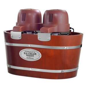 Nostalgia ICMW200DBL Electric Bucket Ice Cream Maker, Makes 4-Quarts in Minutes, Frozen Yogurt, Gelato, Made From Real Wood