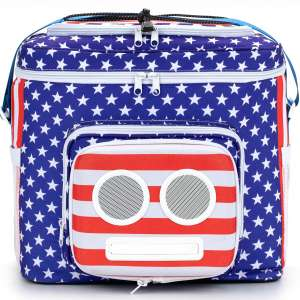 American Flag Cooler with Speakers & Subwoofer (Bluetooth, 20-Watt) for Parties Festivals Boat Beach
