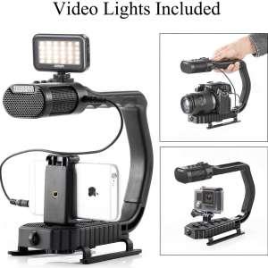 Handheld Stabilizer & Video Led Lights Skateboarding for DJI OSMO iPhone 11 X 8 8 Plus 7, Sevenoak Handle Grip & Built-in Stereo Mic for Smartphone