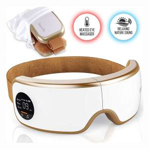 Stress Therapy Electric Eye Massager - Wireless Digital Mask Machine w: Heat Compress, Built-in Battery & Adjustable Elastic Band - Air Pressure Vibration Massage for Eye Relief