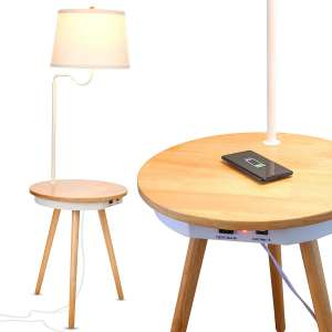 Brightech - Owen Side Table with Attached LED Lamp - Mid Century Modern End Table for Living Rooms – Nightstand with Wireless Charging Pad & USB Ports - Tripod Bedside Table - Natural Wood