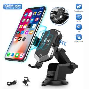Wireless Car Charger Mount, 10MM Max Inductive Distance Manual Automatic Clamping 10W 7.5W Fast Charging Phone Holder Compatible iPhone 11 11 Pro 11 Pro Max Xs, Samsung S10 S9 S8
