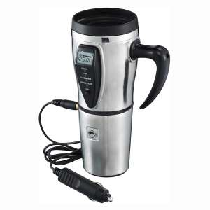 Tech Tools Heated Smart Travel Mug with Temperature Control 16 Ounce, 12V Adapter - Stainless Steel