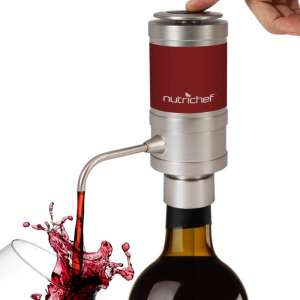 Electric Wine Aerator Dispenser Pump - Portable and Automatic Bottle Breather Tap Machine - Air Decanter Diffuser System for Red and White Wine w Unique Metal Pourer Spout