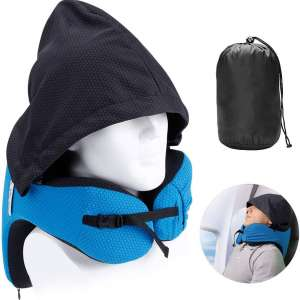 LANGRIA Travel Pillow with Hood - 6 in 1 Memory Foam Neck Support Adjustable Car Cushion with Carry Bag for Adult Plane Flight