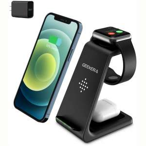 Wireless Charging Stand, GEEKERA 3 in 1 Wireless Charger Fast Charging Dock Station