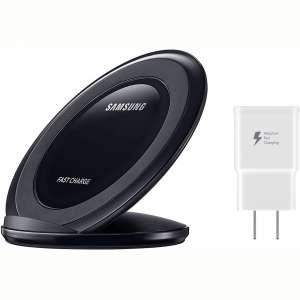 Samsung Qi Certified Fast Charge Wireless Charging Pad + Stand - Supports wireless charging on Qi compatible smartphones