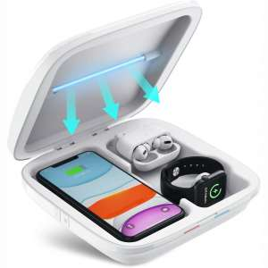 UV Sanitizer 3-in-1 Wireless Charger for Smartphone Smartwatch Earbuds Multi-Function Charging Station Cell Phone Cleaner UV Light Sterilizer Disinfection Box