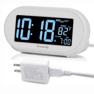 DreamSky Auto Time Set Alarm Clock with Snooze and Dimmer, Charging Station:Phone Charger with Dual USB Port .Auto DST Setting, 4 Time Zone Optional, Battery Backup.