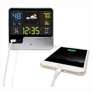 AcuRite 01129M Alarm Clock with USB Charger & Weather Station
