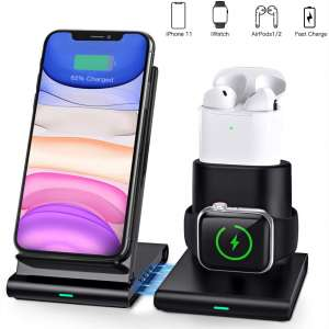 COULAX Wireless Charger, 3 in 1 Wireless Charging Station for Apple Watch, AirPods 1 2, Certified Fast Charge Stand Compatible with iPhone 11 Pro XS Max XS X XR