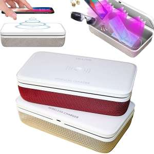 ULLIVE UV Phone Sanitizer Sterilizer Cleaners Soap Box with 15W Wireless Charging and Aromatherapy or Jewelry Sanitizer Sterilizer Cleaners Box