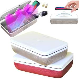 ULLIVE UV Phone Sanitizer Sterilizer Cleaners Soap Box with 15W Wireless Charging and Aromatherapy or Jewelry Sanitizer Sterilizer Cleaners Box for Glasses, Watches