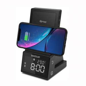 dpnao Wireless Charging Stand with Bluetooth Speaker Alarm Clock Night Light USB Fast Charging Port Compatible