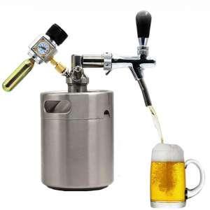 FEZBD Pressurized Beer Mini Barrel System - Portable Mini Keg Dispenser Kit, Carbon Dioxide Pressure Regulator Stainless Steel Beer Barrel Holds