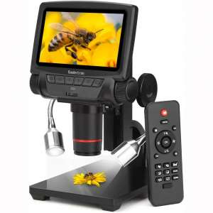 Koolertron 5 inch LCD 1080P Wireless Remote Control Digital Microscope with Adjustable Stand, HDMI:AV:USB Output Camera Video Recorder with 8 LED Adjustable Light Source