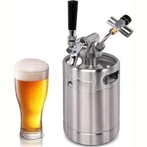 Pressurized Beer Mini Keg System - 64oz Stainless Steel Growler Tap, Portable Mini Keg Dispenser Kegerator Kit, Co2 Pressure Regulator Keeps Carbonation