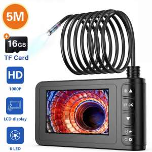 Industrial Endoscope, SKYBASIC 1080P HD Digital Borescope Camera Waterproof 4.3 Inch LCD Screen Snake Camera Video Inspection Camera with 6 LED Lights