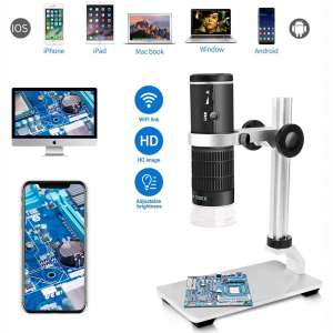 Jiusion WiFi USB Digital Microscope HD 1080P Resolution 50 to 1000x Wireless Magnification Endoscope 8 LED Mini Camera with Updated Stand Portable Case