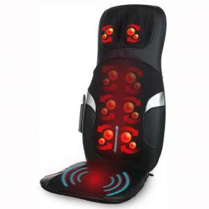 Shiatsu Massage Cushion with Heat | Customizable Multiple Zone Back Massage Chair with Deep Kneading and Vibration Plus Programmable Remote | Portable for Home or Office