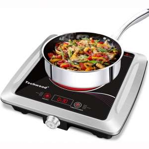 Techwood Portable Burner Electric Cooktop Single Hot Plate Infrared Ceramic Burner Travel Countertop 1200W Stainless Steel Outdoor Adjustable Temperature Control Easy Clean