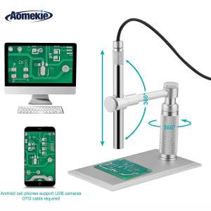 Aomekie USB Digital Microscope Magnifier Camera Video 200X Zoom 1600x1200 HD 2MP PCB Inspection Handheld Endoscope with 8 LED Lights and CMOS Sensor