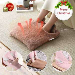 Electric Heated Foot Warmer,Men and Women Foot Heating Pad Auto Shut Off Electric with Fast Heating Slippers Sofa Pillow, Easy and Convenient to Use to Clean Heating Pad