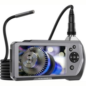 """Teslong Industrial Endoscope Camera, 0.21"""" Waterproof Borescope Inspection Camera with Upgraded 4.5"""" IPS Monitor, 9.8ft Gooseneck Snake Camera with LED Lights-32GB MicroSD Card-2500mAh"""