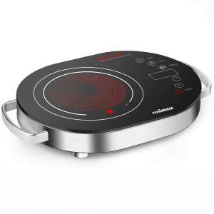 Cusimax Hot Plate Electric Stove, 1500W LED Infrared Single Burner Portable, Heat-up In Seconds, 7.9 Inch Ceramic Glass Cooktop with Touch Buttons