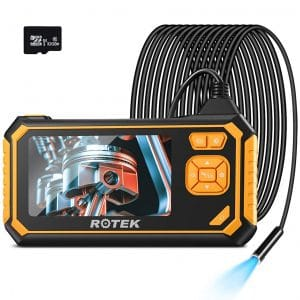 Industrial Endoscope,ROTEK 1080P HD 4.3inch LCD Screen 2600mAh Rechargeable Battery Borescope, IP67 Waterproof Inspection Camera with 32GB TF Card 6 LED Lights Digital Video