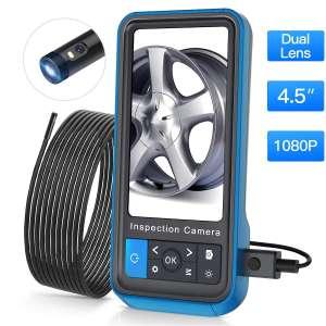 "Inspection Camera, Teslong 1080p Dual Lens 4.5"" Screen Endoscope with 32GB Memory Card, 16.4ft Waterproof Semi-Rigid Tube Borescope Industrial Endoscope, 2500mAh Battery"