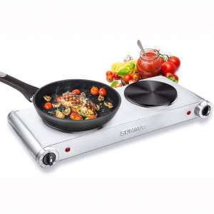 SUNAVO Hot Plates for Cooking Portable Electric Double Burner 1800W 5 Power Levels Cast-Iron Stainless Steel Silver