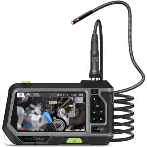 Dual Lens Endoscope Camera with 5-Inch IPS LCD Monitor. Teslong Industrial Waterproof Borescope Inspection Camera with 0.21in Front & Side-View Double Lens with 9.8FT Probe
