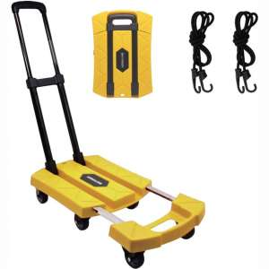 Folding Hand Truck 6 Wheel-roate 200Kg:440lbs Heavy Duty Solid Construction Utility Dolly Trolley Cart Compact and Lightweight for Luggage