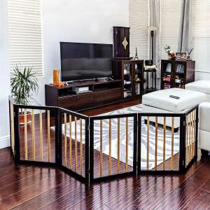 """Goldies 24"""" High 6 Panel Dog Playpen, Solid Wood with Bamboo Convertible and Foldable Play Yard and Pet Fence for Small Dogs"""