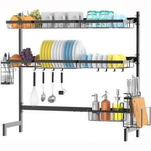 Over The Sink Dish Drying Rack,Ace Teah 2 Tier Dish Rack,Stainless Steel Dish Drainer, Black