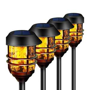 Camabel 55 inches Tall Flicking Flame Solar Torches for Garden Walkway