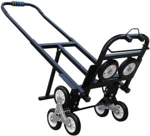 INTBUYING Stair Climbing Cart Portable Folding Hand Truck, 420LBS Capacity Handcart Luggage Cart with 6 Wheels and 2 Backup Wheels (Black)-No Casters